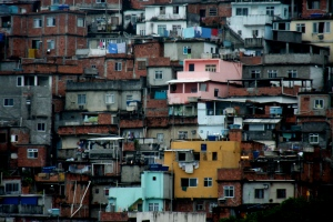 Slums on the hillside in Rio de Janeiro